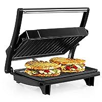 ozavo panini maker/griglia, tostiera,pressa a sandwich, griglia elettrica, 750 watt,grill a contatto 2 in 1, tostapane, grill da tavolo elettrico piastre antiaderent (argento)
