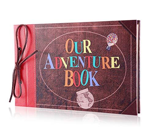 Libro de aventuras Pulaisen, álbum de recortes, película DIY Aniversario, hecho a mano, álbum de fotos retro con caja de regalo, Our Adventure Book Retro Style