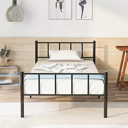 Solid Single Bed Metal Frame 3ft for Kids Adulte Teenagers with Vintage Headboard and Footboard, Fits for 90 * 190CM Mattress,Black
