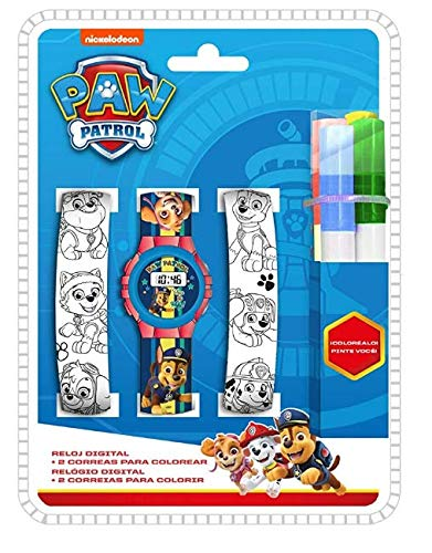 Kids Licensing Digitaluhr für Kinder   Paw Patrol   Armbänder zum Malen   Robuste Kinder-Armbanduhr   Kinder-Armbanduhr   Lernuhr   Offizielle Lizenz