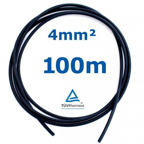 100 m Reiter-Solar SK4100 Solarkabel 4 mm - PV Verbindungs-Kabel 4 mm unkonfektioniert rot oder schwarz, Farbe:Schwarz