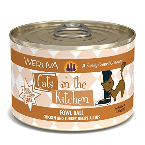 Weruva Cats In The Kitchen, Fowl Ball With Chicken & Turkey Au Jus Cat Food, 6Oz...