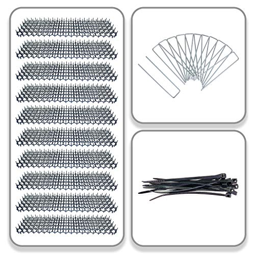 WizeAven Set of 10 Cat Scat Spike Mats - Anti Digging Flexible Pet Safe Deterrent Spike Pad for Outdoor Garden - Complete with 12 Garden Staples and 12 Cable Ties