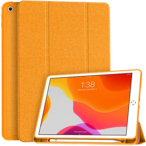 Soke New iPad 10.2 Case with Pencil Holder, iPad 8th Generation 2020/7th Generation 2019 Case-Premium Shockproof Case with Soft TPU Back Cover&Auto Sleep/Wake for Apple iPad 10.2', Citrus