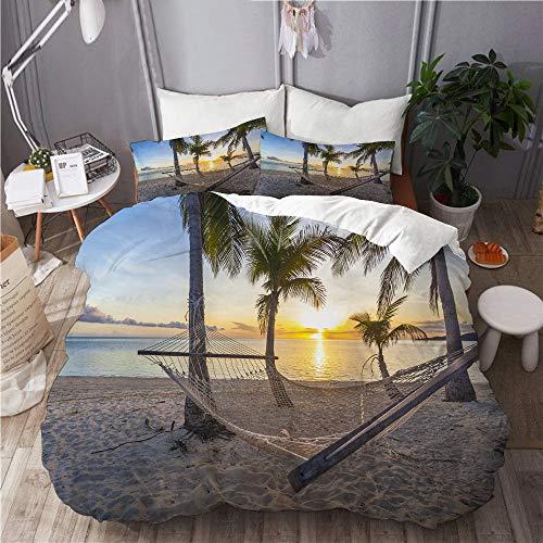 YOLIKA Juego de Ropa de Cama con Funda de edredón, de Microfibra, Playa paraíso Tropical al Atardecer con Hamaca,con 2 Fundas de Almohada,240x260