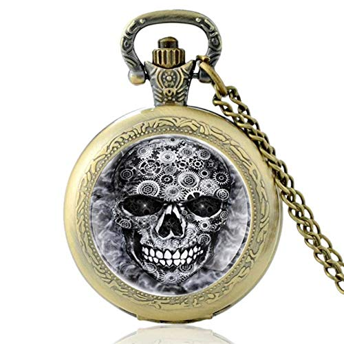 Steampunk Gear Skull Design Old Dome Quartz Pocket Watch Men Women Pendant Necklace Hours Clock Gifts for Husband on Anniversary (Color : Bronze)