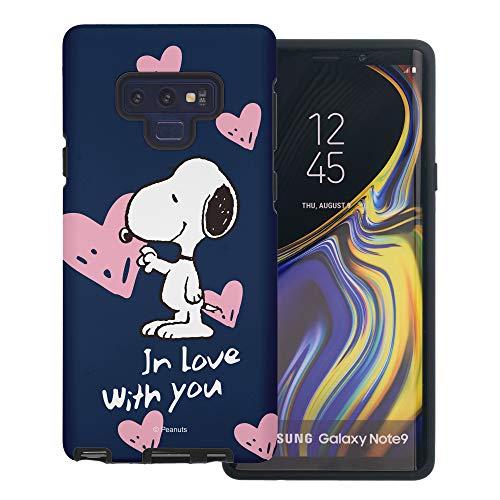 Galaxy Note9 ケース と互換性があります Peanuts Snoopy ピーナッツ スヌーピー ダブル バンパー ケース デュアルレイヤー 【 ギャラクシー ノート9 ケース 】 (スヌーピー In Love 藍色) [並行輸入品]