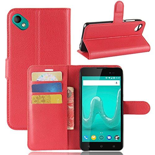 Handyhülle für Wiko Sunny 2 Plus 95street Schutzhülle Book Hülle für Wiko Sunny 2 Plus, Hülle Klapphülle Tasche im Retro Wallet Design mit Praktischer Aufstellfunktion - Etui Rot