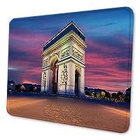 マウスパッド ゲーミングマウスパッド-Arc旋門とシャンゼリゼ、夕暮れ時のパリ中心部のランドマーク 滑り止め デスクマット 水洗い 25x30cm
