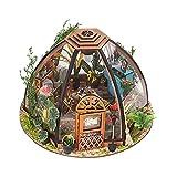 Hellery Miniatur-Puppenhaus, DIY-Gartenhaus-Kit, mit Möbeln und LED-Licht für EIN Romantisches Valentinstagsgeschenk
