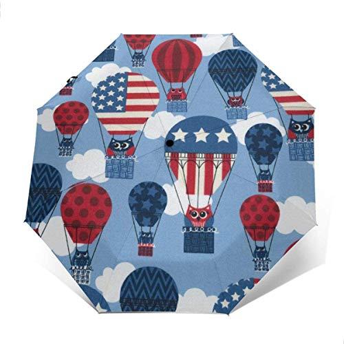 NA Compact Lichtgewicht Draagbare Reizen Auto Vouwparaplu met Zwarte Lijm Anti UV Coating - Patriottische Hot Air Balloon Amerikaanse Vlag Golf Parasol