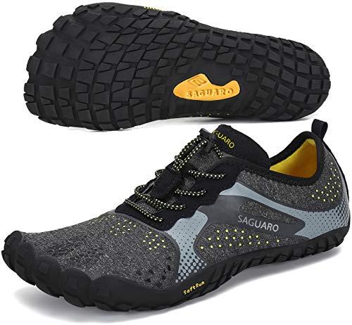 SAGUARO Hombre Mujer Minimalistas Zapatillas de Deporte Trail Running Calzado Caminar Cómodas Senderismo Ciclismo Ligeras Deportivas Andar Trekking Montaña Agua Exterior Interior(Negro, 42 EU)