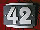 Hausnummer aus Edelstahl und Schiefer - 3D Hausnummernschild Türschild Die etwas andere Hausnummer Ziffern sind 13cm Hoch
