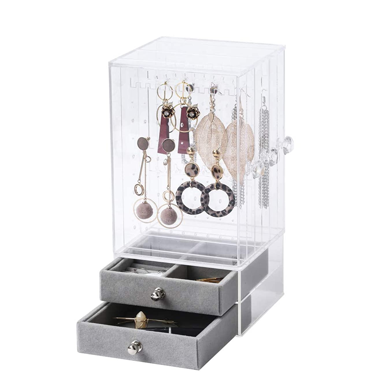 BiuTee Jewelry Box for Women Jewelry Organizer Necklace Earrings & Bracelet Hanger Acrylic Display Storage Case Decor Gifts for Girls, Large