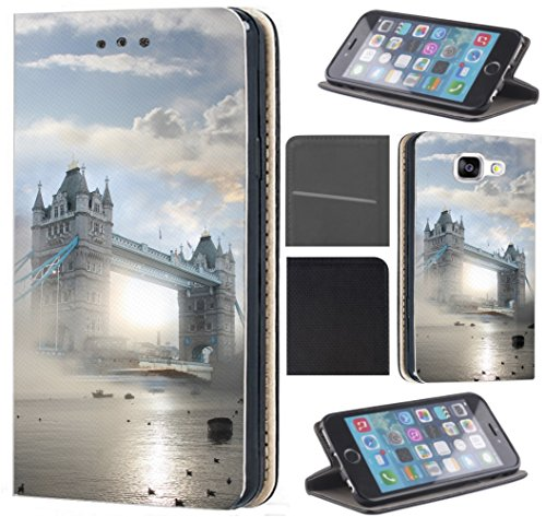 Huawei P20 Lite Hülle von CoverHeld Premium Flipcover Schutzhülle Flip Hülle Motiv (1529 Tower Bridge England London Nebel)