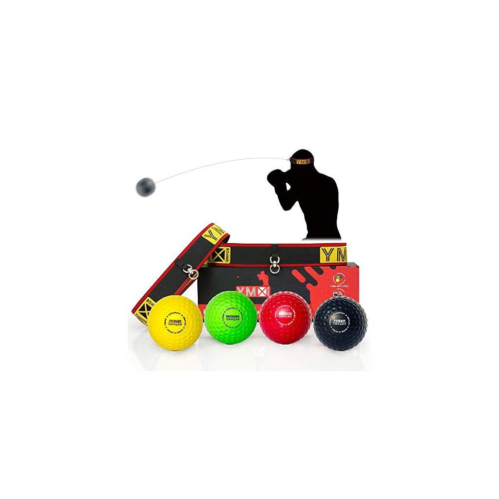 YMX BOXING Ultimate Reflex Ball Set – 4 React Reflex Ball Plus 2 Fasce Regolabili, Ideale per Reflex, Timing, Precisione, Focus e Formazione di Coordinazione Occhi per Boxe, MMA e Krav Mega