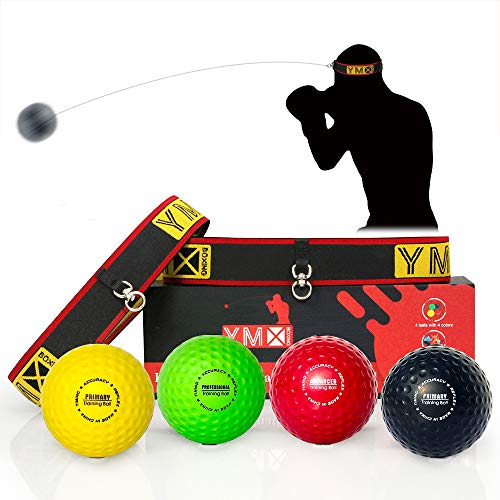 YMX BOXING Ultimate Reflex Ball Set - 4 React Reflex Ball Plus 2 Adjustable Headband, Great for Reflex, Timing, Accuracy, Focus and Hand Eye Coordination Training of Boxing, MMA and Krav Mega