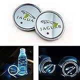 Luces de atmósfera del logotipo del coche Logotipo de LED a prueba de agua bebidas botella Coaster 7 colores que cambian de carga USB Copa Mat Mat LED for Jaguar XF XJ XE F-PACE XFL, 2 piezas