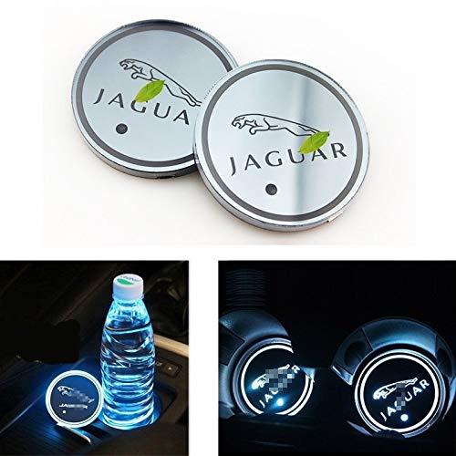 GUOLIANG Car Logo Atmosphere lights LED Logo Waterproof Bottle Drinks Coaster 7 Colors Changing USB Charging Mat LED Cup Mat for Jaguar XF XJ XE F-PACE XFL, 2PCS