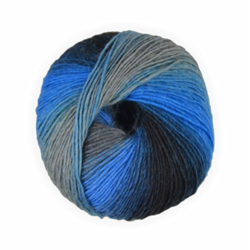 Sockenwolle mixed colors blau grau 50g - 200 Meter