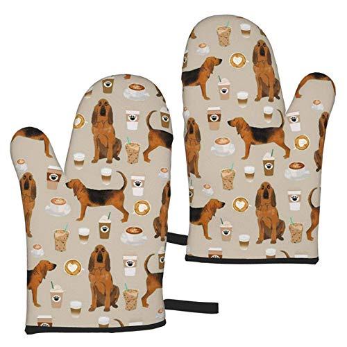 AEMAPE Bloodhound Dogs and Coffees Oven Mitts 2pcs Guantes de microondas - Guantes de Horno Resistentes al Calor con asa Antideslizante para Colgar en la Parrilla para Hornear a la Parrilla