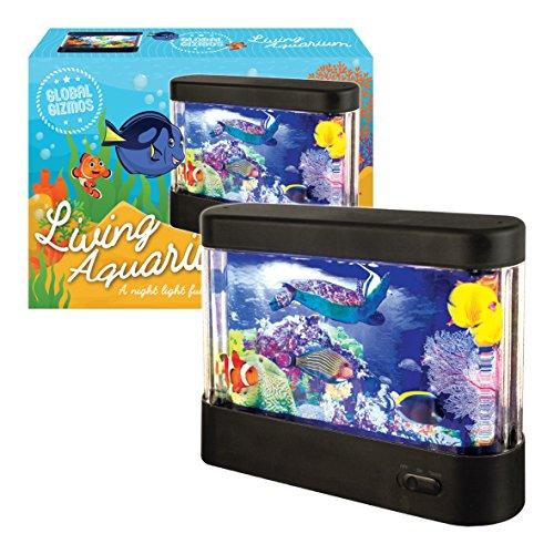 Global Gizmos LED Batteriebetriebenes, kleines Aquarium, Kunststoff, schwarz