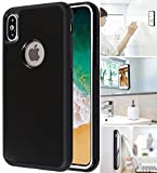 MONCA ] Anti Gravity Cellphone Case [Black] Magical Nano Technology Stick to Wall, Glass, Whiteboards, Tile, Smooth Flat Surfaces (Goat Case for iPhone X, for iPhone Xs)