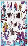 ABAKUHAUS Alicia en el país de Las Maravillas Cortina para baño, Alicia en el país de Las Maravillas, Tela con Estampa Digital Apta Lavadora Incluye Ganchos, 120 x 180 cm, Multicolor