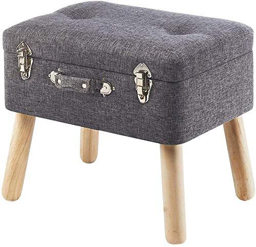 Xicaimen Taburete para Equipaje Taburete tapizado de Textil - Gris Claro - 50x35x45 cm