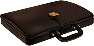 REO 100% Genuine PU Leather Briefcase Bag for Men |15.6'' Laptop Compartment| |Expandable Features| |High Security Combo Number Lock| Color (Black) (Black)