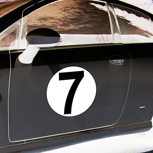 4 Aufkleber 20cm Sticker Startnummer 7 Racing Auto Start Nummer Zahl Ziffer Tor Halle Garage Werkstatt Müllkontainer