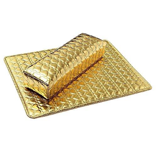 Bluelans haute qualité lavable Nail Art Coussin Oreiller Pad pour les mains Rest Lot d'accessoires de manucure Doré