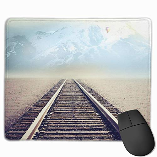 Mouse Pad Anti-Slip Mousepad Beautiful Train Tracks Railroad Gaming Mouse Mat Pads with Stitched Edge Cute Funny Personalized Novel for Working Game Office Study PC Computers