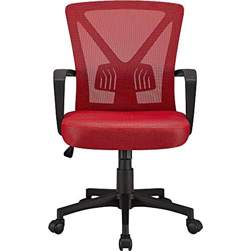 Yaheetech Silla Oficina Estudio Escritorio Silla de Trabajo Soporte Lumbar Regulable Silla para Despacho Multi Color Rojo