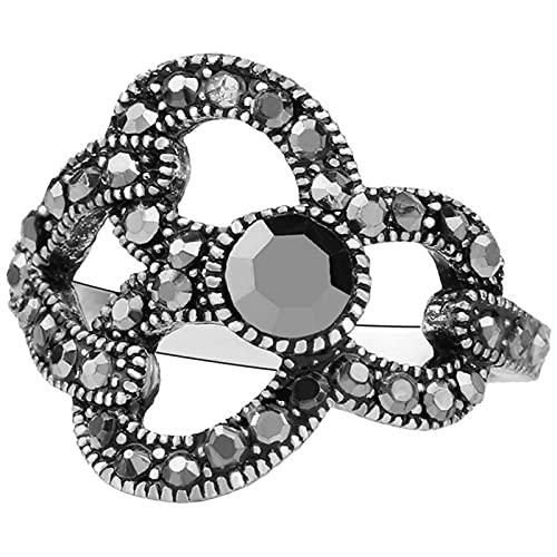 Ezzyso Anillo de Enclavamiento, Estadounidense Simple Hollow Grey Diamond Female Anillo de aleación de joyería (2 PCS),10