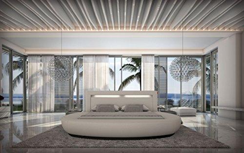 Sofa Dreams LIT À Eau Riva 180 x 200 cm et 200 x 220 cm en Blanc Similicuir avec éclairage avec éclairage LED Lit à Eau en Plusieurs Couleurs