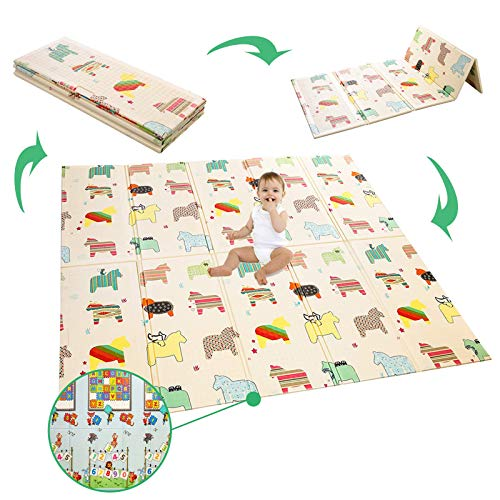 Manta de juegos para bebé, plegable, de espuma extragrande, reversible, no tóxica, impermeable, adecuada para niños y niños (ABC + caballo pequeño)