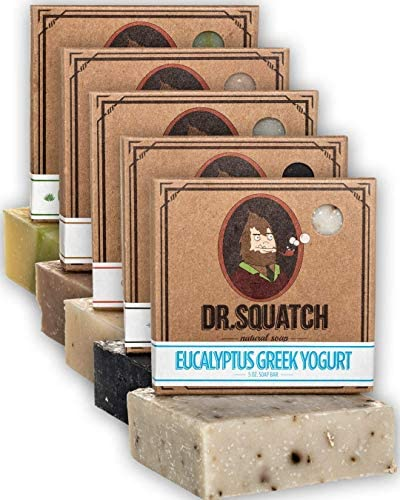 Dr Squatch Men s Soap Variety Pack Manly Scent Bar Soaps Cool Fresh Aloe Gold Moss Pine Tar product image