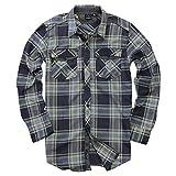 Camisa de franela de manga larga con botones para hombre - Azul - Small