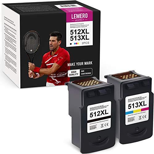 LEMERO UEXPECT Cartuchos de tinta remanufacturados para Canon PG-512 CL-513 para Canon Pixma iP2700 2702 MP230 235 240 250 260 270 272 280 282 480 490 MX320 330 35 0 (negro, color)