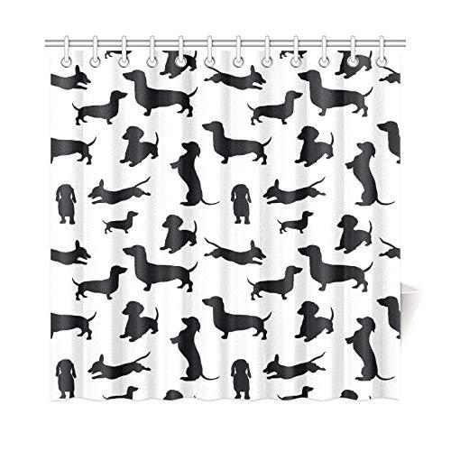JOCHUAN Home Decor Bad Vorhang Schwarz Hunde Dackel Hund Schatten Muster Polyester Stoff Wasserdicht Duschvorhang Für Badezimmer, 72 X 72 Zoll Duschvorhänge Haken Enthalten