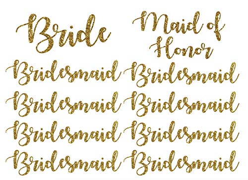 Wedding Iron On Transfers, Bride Iron on, Bridesmaid Iron on, Bride Tribe Iron on, Maid of Honor Iron on (Gold Glitter, Full Set (10 transfers))