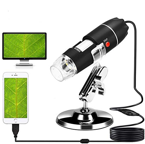 USB Microscope, 40X-1000X Digital Microscope 3 in 1 PCB Microscope Camera Magnification Endoscope Camera Portable Microscope with 8 Led, Metal Stand for Windows 7/8/10, Mac, Android with OTG, Linux