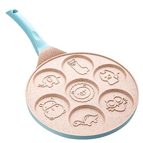 Gcroet Tier Pfannkuchen Pfanne Pfannkuchen Griddle Crepe Pfannkuchen Form Mini Pfannkuchen Maker mit 7 Einzigartige Cute Animal Grill Pan Nonstick Frühstück Pan für Kinder (blau)