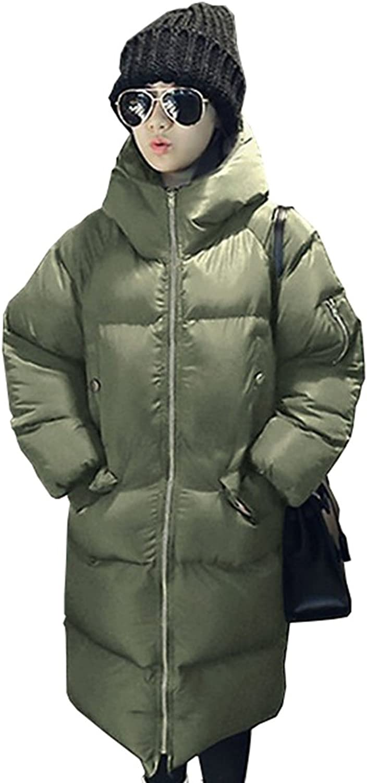 Fashciaga Women's Mid Long Hooded White Duck Down Coat