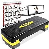 POWRX Step fitness/aeróbic escalón (68 x 28,5 cm) - Stepper ideal para ejercicios en casa - Altura regulable y superficie antideslizante + PDF workout (Negro/Amarillo)