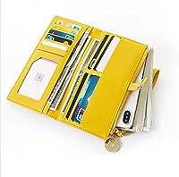 ハンドバッグ財布、ハンドバッグスマートフォンホルスター、多機能ハンドバッグジッパーウォレット、11カードパック、3層メザニン、フォトフレーム、ジッパーウォレット、取り外し可能なハンドバッグリストバンド (黄色)