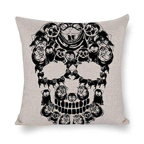 GYYbling Pillow Cases Pug Dog Shirt Halloween Skull Costumes Cotton Linen Blend Throw Pillow Covers Case Cushion Pillowcase with Hidden Zipper Closure for Sofa Bench Bed Home Decor 20'x20'