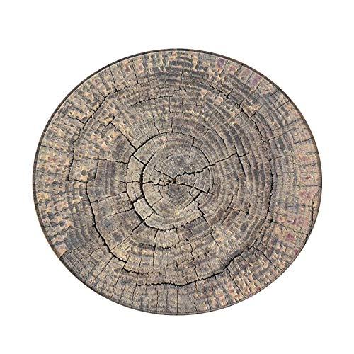 iFCOW Alfombra redonda de 3,3 pies con patrón de grano de madera para sala de estar, dormitorio