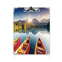 クリップボード A4 釣りの装飾 子供の贈り物バインダー 国立公園の山湖スロバキアヨットヨーロッパの生態学自然 A4 タテ型 クリップファイル ワードパッド ファイルバインダー 携帯便利多色